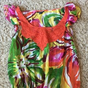 Tropical sleeveless blouse